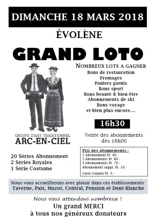 Grand Loto Arc-en-Ciel 18 mars 2018